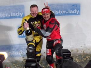 Stefan Raab und Georg Hackl bei der WokWM 2008 in Altenberg