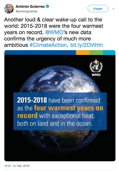 António Guterres, UNO Generalsekretär, twittert
