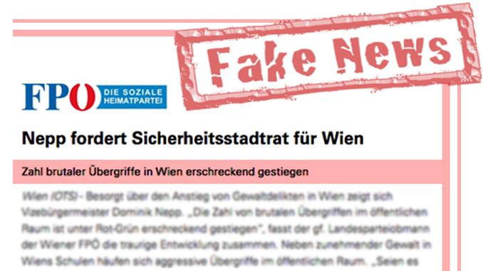 Screenshot einer OTS Presseaussendung mit dem Vermerk des Autors: Fake News