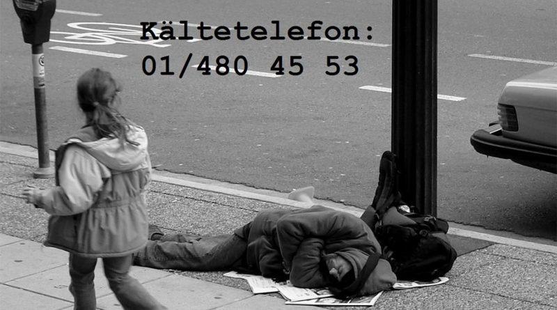 Bild eines obdachlosen Menschen, der auf der Straße liegt. Kältetelefon: 01/480 45 53