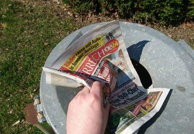 """""""Österreich""""-Zeitung wird in den Müll geworfen"""