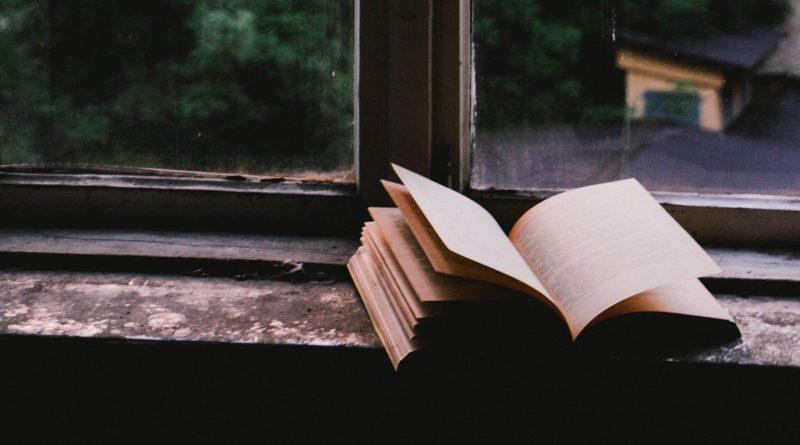 Aufgeschlagenes Buch auf einer Fensterbank