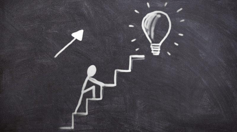 Tafelbild: Strichmensch klettert Stufen zu einer Glühbirne hinauf
