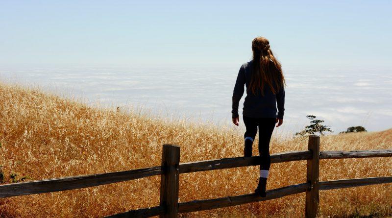 Frau steigt über Zaun - Hürden überwinden
