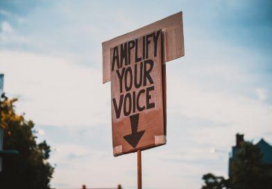 """Demoschild """"Amplify your Voice"""""""
