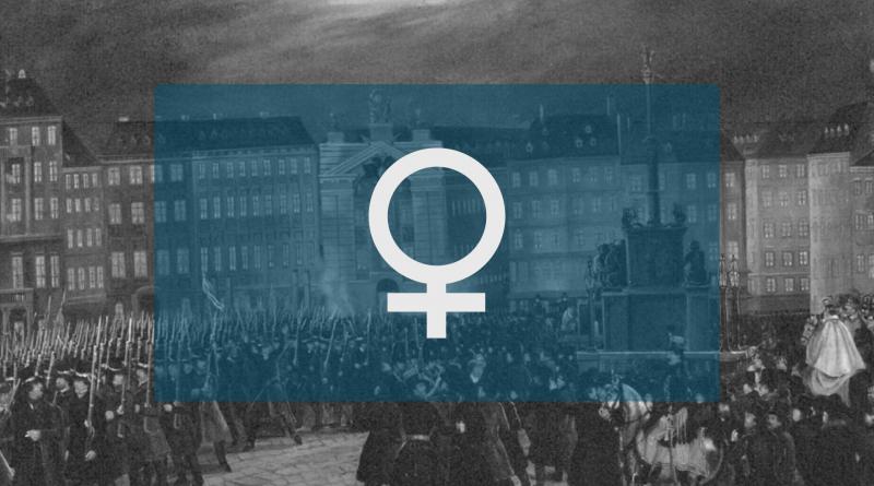 Das Symbol für Frauen in blauem Rechteck, Hintergrund ein Foto von der Revolution1848