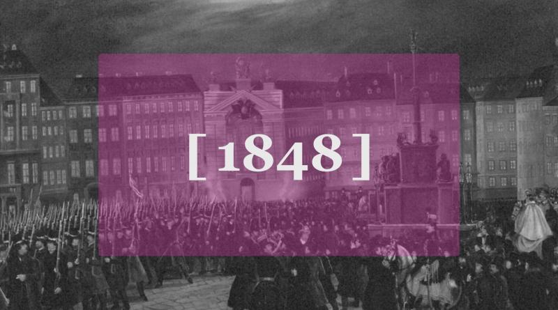 Die Zahl 1848 in pinkem Rechteck, Hintergrund ein Bild der Revolution von 1848