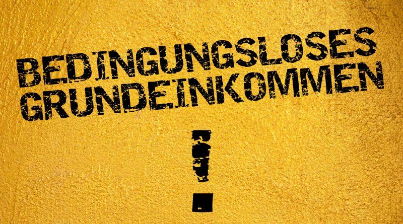 Schwarz auf gelb: Bedingungsloses Grundeinkommen!