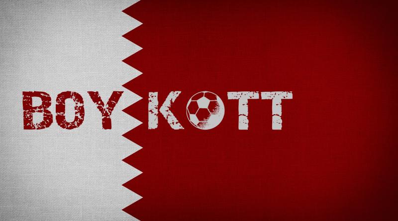 """Flagge von Katar mit dem Wort """"Boykott"""""""