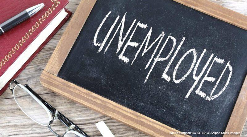 Unemployed, geschrieben mit Kreide auf einer kleinen Tafel
