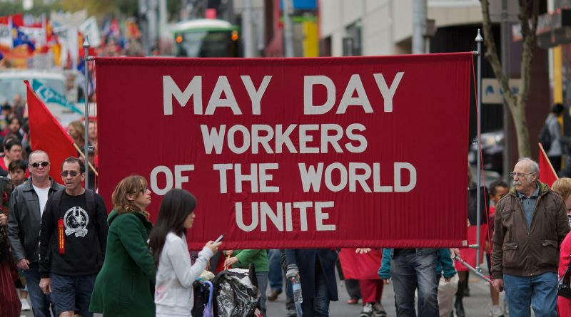 "Demonstration am 1. Mai in Melbourne 2021, ""May Day - Workers of the World Unite"""