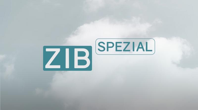 ZiB-Spezial Logo abgewandelt in türkis, Hintergrund Wolken