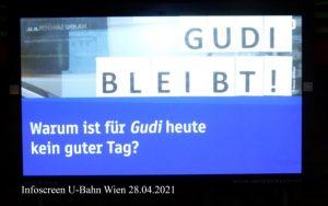 Ubahn-Infoscreen: Warum ist für Gudi heute kein guter tag?