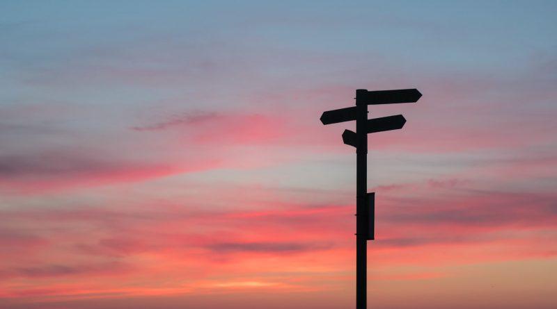 Wegweiser-Silhouette im Sonnenuntergang