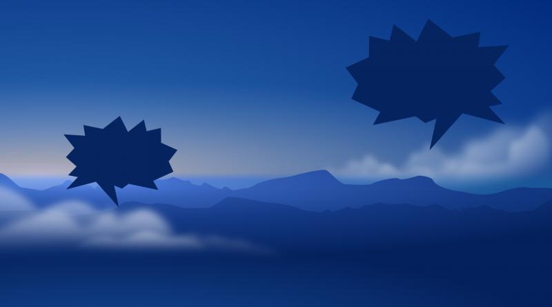 Ein Horizont in blau mit Bergen, darüber wurden zwei Sprechblasen in dunkelblau platziert