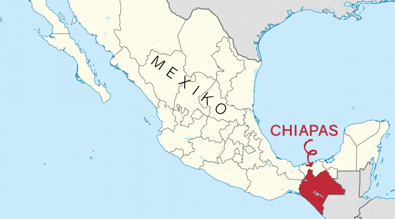 karte von Mexiko, die Region Chiapas im Süden ist rot markiert